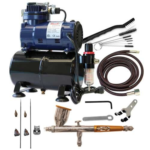 Paasche Airbrush TG-300R Double Action Gravity Feed Airbrush Set and Compressor with Tank