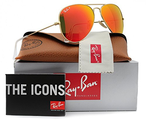 Ray-Ban RB3025 Aviator Polarized Sunglasses Matte Gold w/Orange Mirror (112/4D) 3025 58mm Authentic