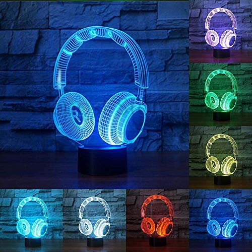 RUI Night Light@ 3D Lámpara LED Óptico Luz Nocturna 7 Cambio De Color con Acrílico Flat & ABS Base & USB Cargador De...