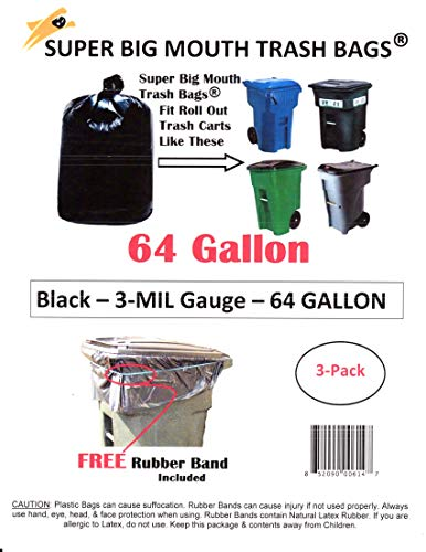 75% Recycled Trash Bags - 64 Gallon Super Big Mouth Trash Bags 3-Pack Plus 1 Free Rubber Tie Down Band