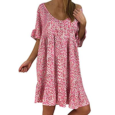 Dressin Womens Floral Print Mini Dress V Neck Short Sleeve Boho Swing Dresses Loose Vintage Beach Dress