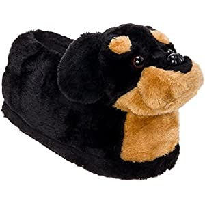 Silver Lilly Rottweiler Slippers - Plush Dog Slippers w/Platform 1