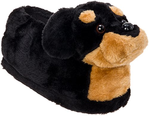 Silver Lilly Rottweiler Slippers - Plush Dog Slippers w/Platform by (Black/Tan, Large) (Slipper Silver)