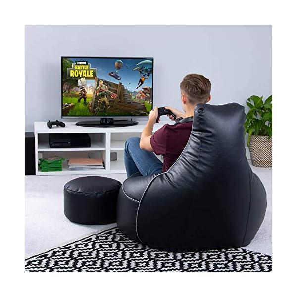 i-eX Pouf spécial Gamer, Noir, Grand, Similicuir, Chaise de Jeux, Faux Cuir