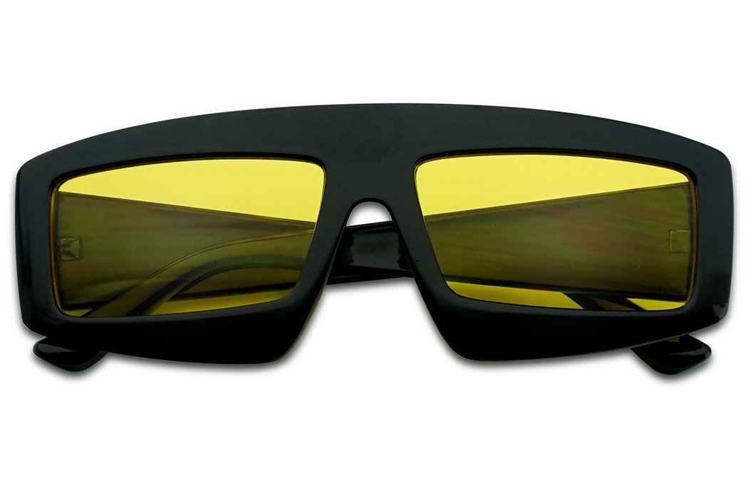 SunglassUP Extra Bold Rectangular Colored Lens Block Shield Frame Sunglasses (Black Frame | Yellow) by SunglassUP