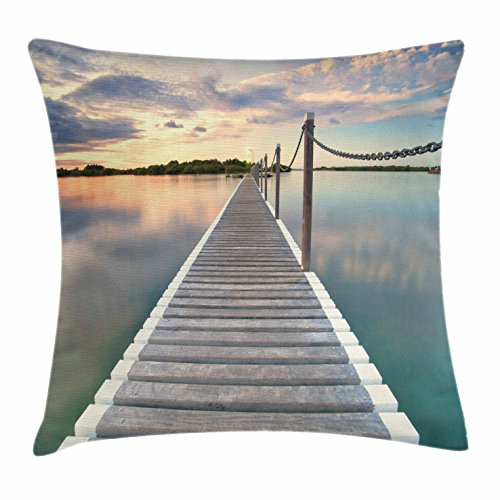 Lunarable Ocean Throw Pillow Cushion Cover, Pontoon Jetty Pier Deck Across The Water at Dramatic Sunset with Idyllic View, Decorative Square Accent Pillow Case, 36 X 36 Inches, Aqua Grey Peach - Pontoon Furniture Lounge Seat