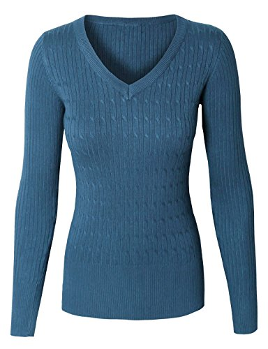 Ladies V-neck Cable - makeitmint Women's Round or V-Neck Twisted Cable Knit Pullover Sweater [S-3XL] YISW0001-TEAL-MEDIUM