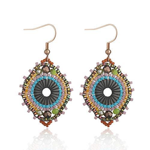 Jane Eyre Boho Dangle Crystal Glass Beaded Earrings for Women Ethnic Handmade Rounded Earrings (Blue & Multicolor)