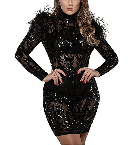 Sheer Feather - Sprifloral Women's Sequin Floral Mock Neck Long Sleeve Bodycon Bandage Party Evening Dress,Black,Medium/Tag size L