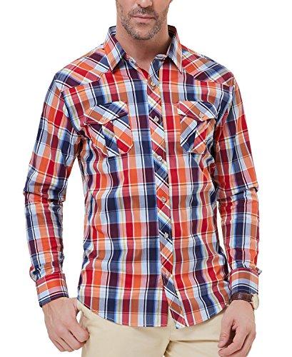 (Men's Cotton Long Sleeve Plaid Fleece Shirt Button Up Shirt(2XL,Red))