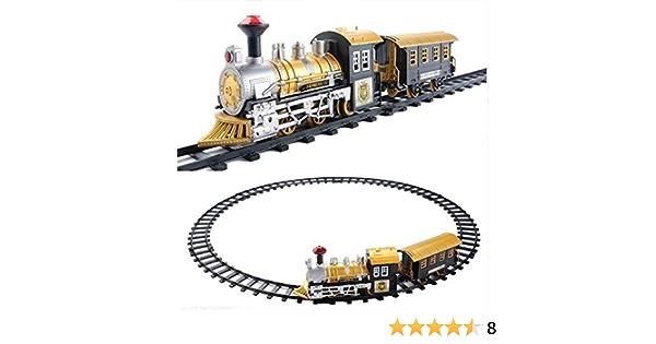 Vintagen Tren de Vapor el/éctrico Juguetes Ferrocarril Coches de Juguete Pista de Carreras con Carro Sonido y luz Juguetes de Bricolaje para ni/ños