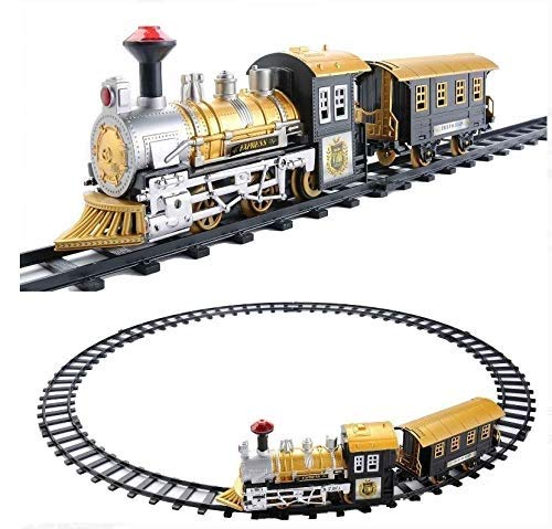 Classic Collection Locomotive Train Set with Light and Sound Battery Operated (8 Pieces)