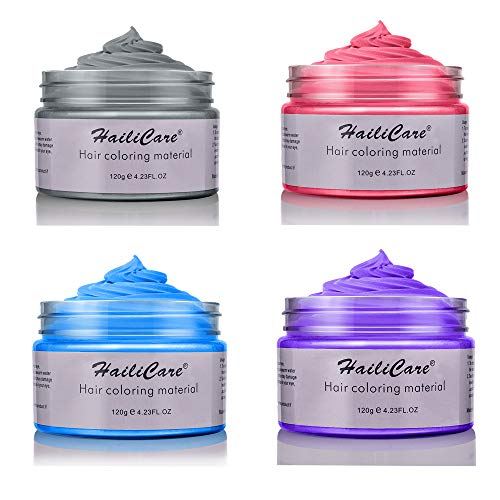 4 Colors Temporary Hair Dye Wax - 4 in 1 Sliver Blue Purple Red - Natural Matte Hairstyle for Party, Cosplay