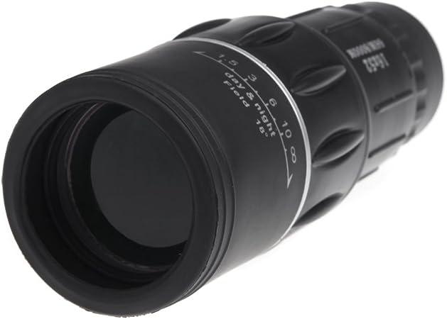 CUHAWUDBA Nueva Generacion 16X52 Telescopio monocular Deportivo Compacto Zoom Mono catalejo para al Aire Libre Viaje Excursionismo Camping Negro