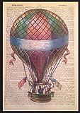 Steampunk vintage montgolfière Impression page de dictionnaire Décoration murale Image insolite