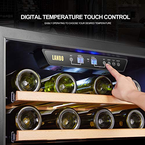 LANBO Dual Zone Wine Refrigerator, 44 Bottle Built-in Under Counter Compressor Wine Cooler, 24 Inch Wide by Lanbo (Image #6)