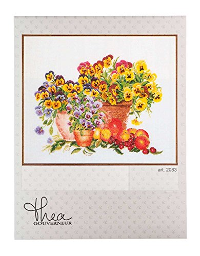 Thea Gouverneur 2083A Violets Pansies on 16 Count Aida, Counted Cross Stitch Kit, ()