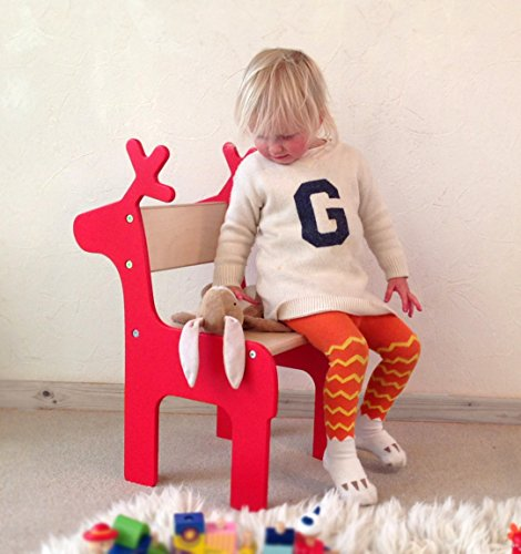 Reindeer Children's Chair. Available in red only. Suitable for ages approximately 18 months to 8 years.