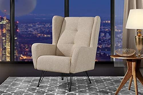 Eliott - Fauteuil Moderne élégant et Confortable - Tissu - Beige