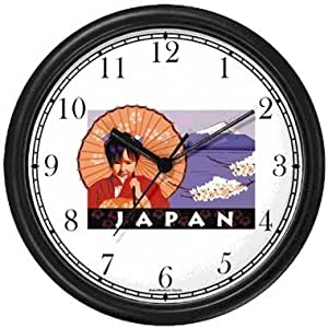 Japanese Girl with Parasol, Mount Fuji, Apple Blossoms - Japan or Japanese - Famous Landmarks - Theme Wall Clock by WatchBuddy Timepieces (White Frame)