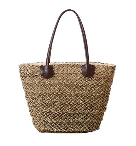 Tonwhar Sea Grass Hollow Woven Tote Bag Straw Beach Bag with Drawstring