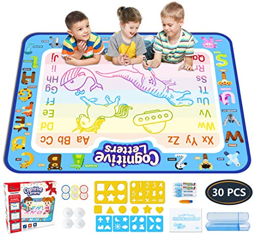 Jasonwell Aqua Magic Doodle Mat 40 X 32 Inches Extra Large Water Drawing Doodling Mat Coloring Mat...