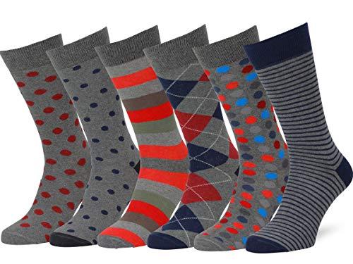 - Easton Marlowe Men's Dress Socks Colorful Pattern Cotton - 6pk #45, dark gray - navy/blues - 43-46 EU shoe size