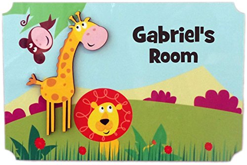 (Rikki Knight Gabriel's Room - 3D Giraffe on Jungle - Door Sign Plaque with Name for Children and Baby's Bedroom)