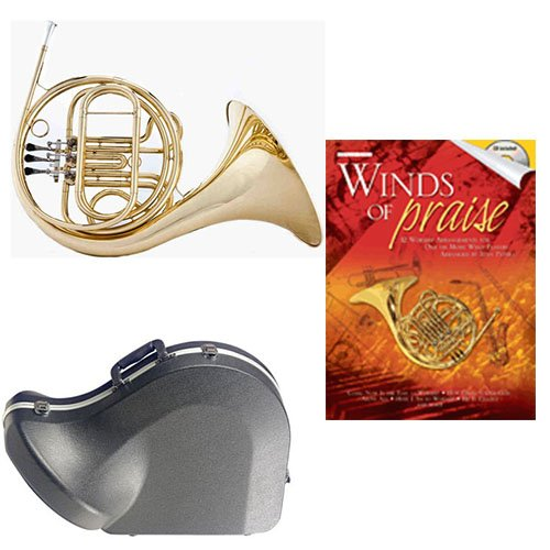 Band Directors Choice Single French Horn in F - Winds of Praise Pack; Includes Student French Horn, Case, Accessories & Winds of Praise Book by French Horn Packs