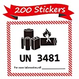 UN 3481 Lithium Battery Labels 4.72 x 4.33 inch Lithium Ion Battery Transport Caution Warning Labels 200 Adhesive Stickers