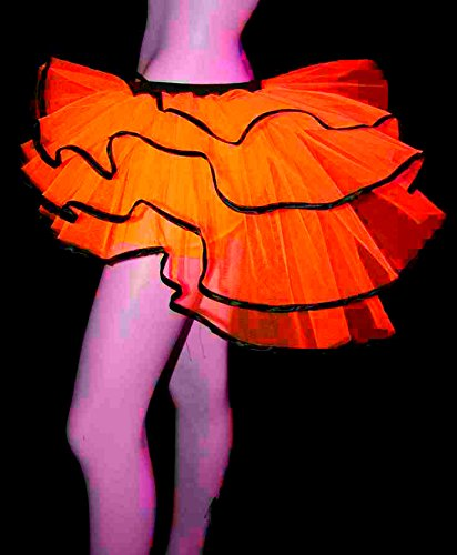Women Uv Neon Orange Peacock Bachelorette Bustle Petticoat