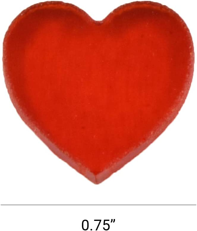 White Opalescent, 50 Pieces Pack of 0.75 Fusible 90COE Bullseye Glass Hearts