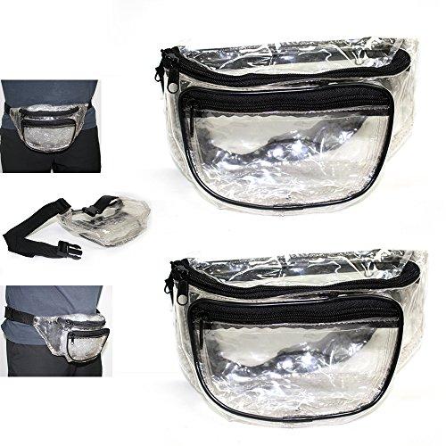 2-Clear-Fanny-Pack-Waist-Belt-Strap-Pouch-Bag-Travel-Sport-Hiking-Men-Women-New