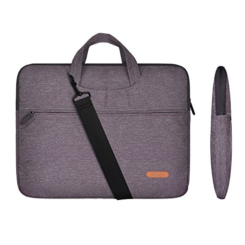 Laptop Briefcase Shoulder Bag 17 inch Multi-Functional Messenger Portable Carrying Case Sleeve Cover with Strap for Ultrabook Macbook Pro Air Chromebook Notebook Tablet(Grey) by Hihopo