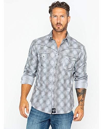 Snap Close Western Shirt - Wrangler Men's Rock 47 Long Sleeve Snap Front Print Grey/Charcoal X-Large