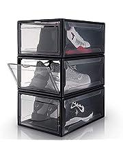 Yorbay Schoenendoos, 3-delige set, stapelbare schoenenorganizer, kunststof box met doorzichtige deur, herbruikbare schoenenopslag, 37 x 26 x 16 cm, voor schoenen tot maat 48, zwart