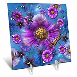 3dRose Spiritual Awakenings Flowers - Digital Purple and Magenta Flower Art - 6x6 Desk Clock (dc_273418_1)
