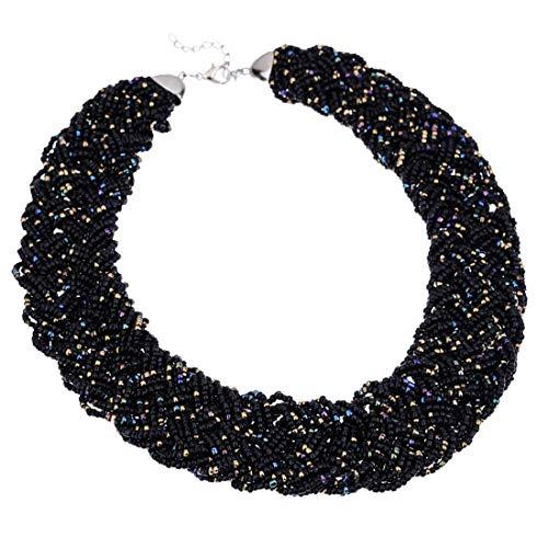 Fashion Chain Choker Collar Necklace Water Drop Olivary Resin Beads Bib Statement Chain Necklace(Black) ()