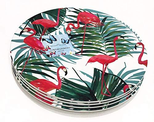 - Cynthia Rowley Set of 4 Melamine SALAD/LUNCHEON Plates Tropical FLAMINGOS
