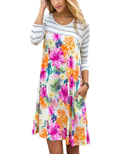 SUNNOE Womens Floral Printed 3/4 Stripe Sleeve A-Line Casual