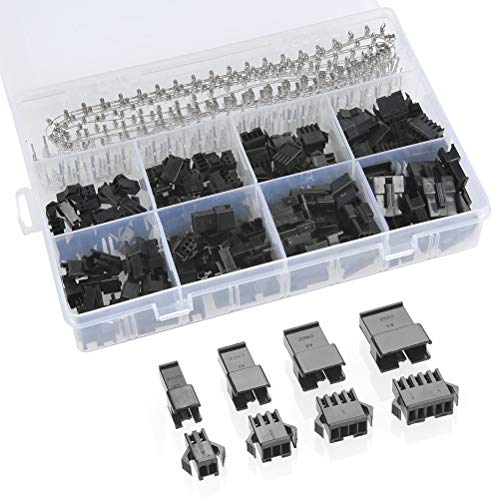 QLOUNI 560pcs 2.54mm Pitch 2 3 4 5 Pin JST SM 2 3 4 5 Pin Male/Female Plug Housing Male/Female Pin Header Crimp Terminals Connector Kit (Female Connector Kit)