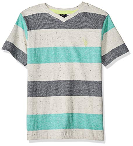 U.S. Polo Assn. Boys' Big Short Sleeve Mini Stripe V-Neck T-Shirt, Tracksuit Green, 10/12