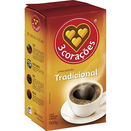 3 Coracoes Tradicional Brazilian Ground Coffee Vacuum Packed 500 grams (Pack of 10)