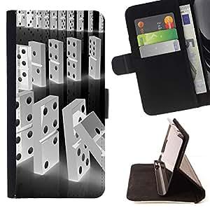 Momo Phone Case / Flip Funda de Cuero Case Cover - Línea Blanca Domino Negro Falling Números - Sony Xperia Z3 D6603