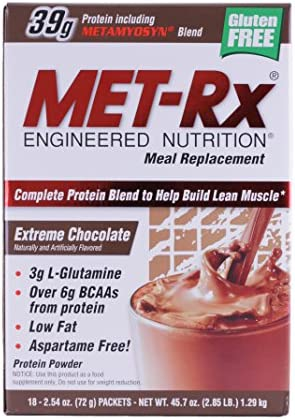 MET-Rx – Meal Replacement Protein Supplement Powder Extreme Chocolate – 18 Packet s Clearance Priced