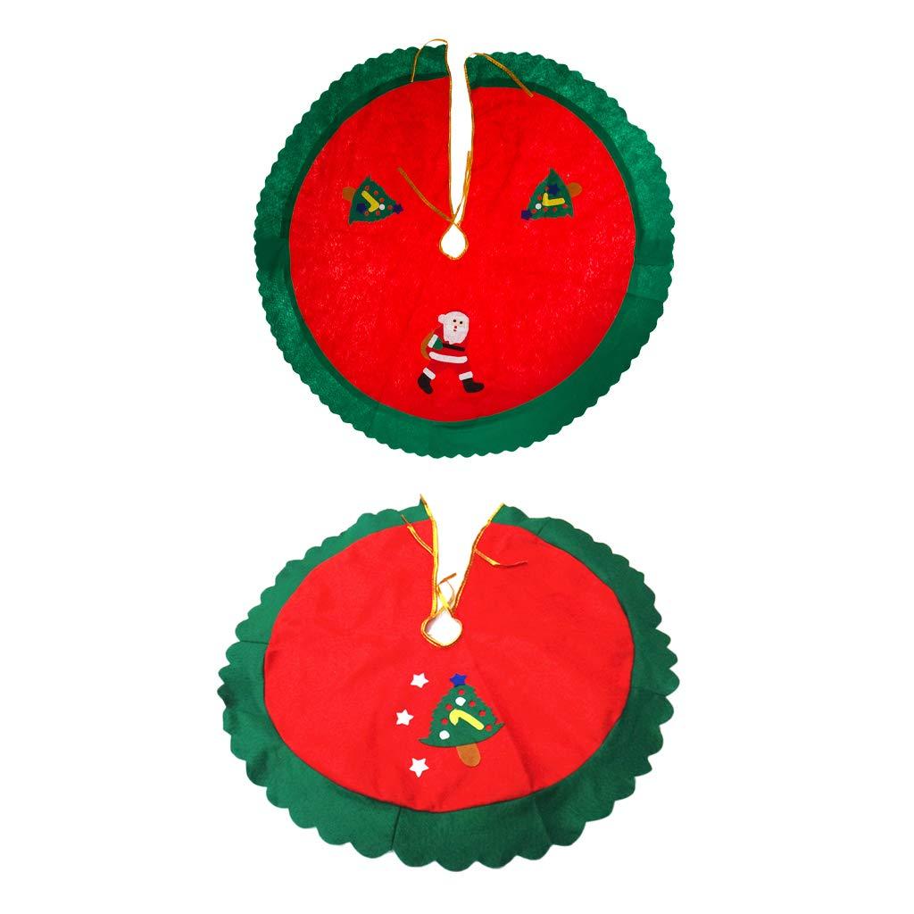 2pcs Stoff Weihnachtsbaum Decken Christmas Baum Rock Tannenbaum Teppich,
