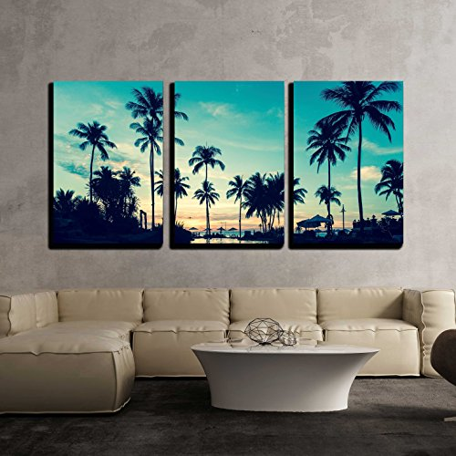 Soft Twilight of the Amazing Tropical Marine Beach x3 Panels