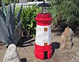 31''H Solar Powered White & Ivory Lighthouse with Revolving Beacon