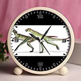 Alarm Clock, Bedroom Tabletop Retro Portable Clocks with Nightlight Custom designs Dinosaurs 31_Lesothosaurus dinosaur