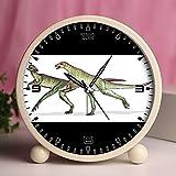 Alarm Clock, Bedroom Tabletop Retro Portable Clocks with Nightlight Custom designs Dinosaurs 31_Lesothosaurus dinosaur